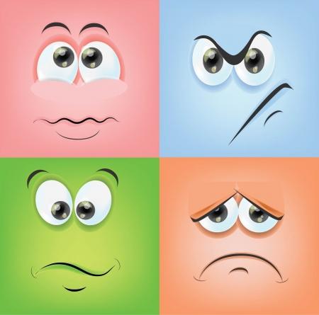 caras emociones: Caras de la historieta con las emociones