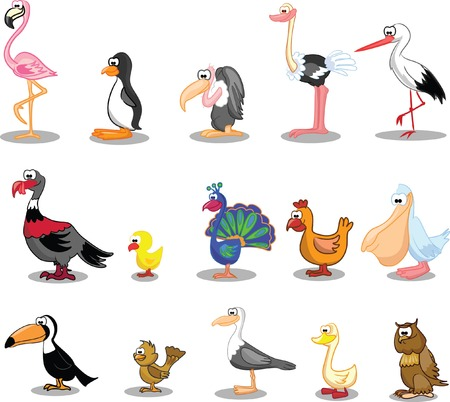 flamingos: Set of cute cartoon birds