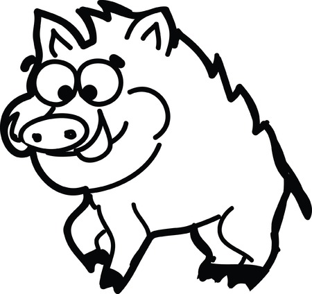 Cute cartoon wild boar  Vector
