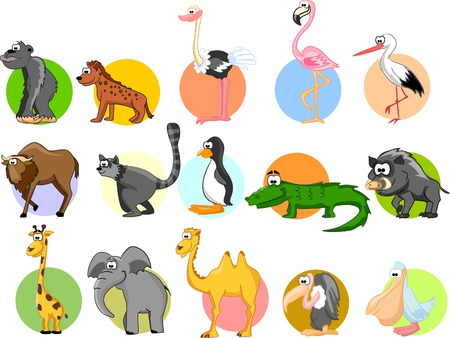 animal fauna: Set of cute cartoon animals