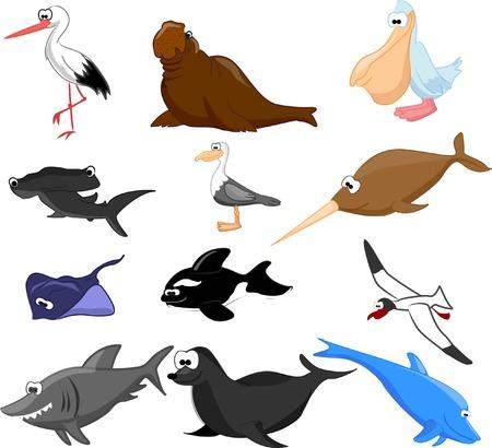 sea cow: Set of cute marine cartoon animals  Illustration
