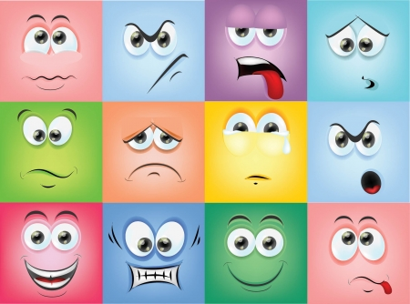 Cartoon faces with emotions 版權商用圖片 - 24506766