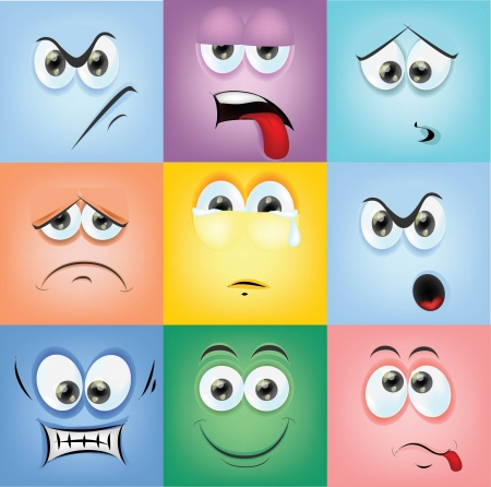 sad faces: Cartoon faces with emotions  Illustration