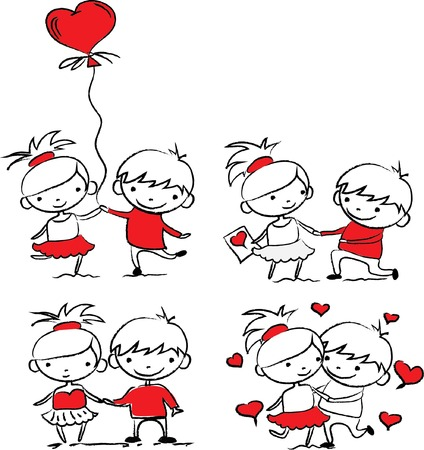 friend hug: Valentine doodle boy and girl, vector
