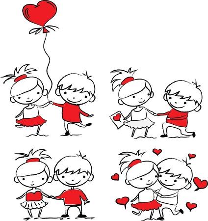 friend hug: Valentine doodle boy and girl, vector