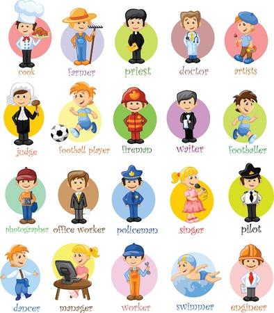 seguridad laboral: Personajes de dibujos animados de diferentes profesiones
