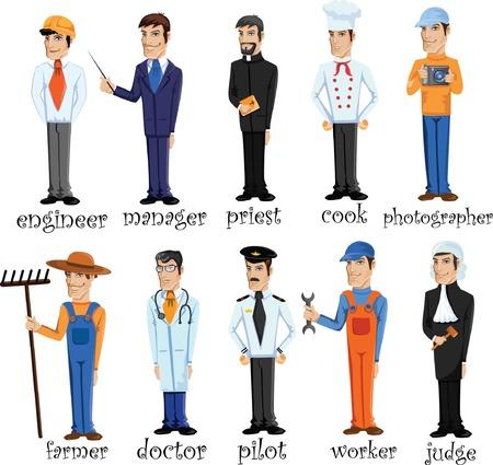 Personaggi dei cartoni animati di diverse professioni Archivio Fotografico - 24579049
