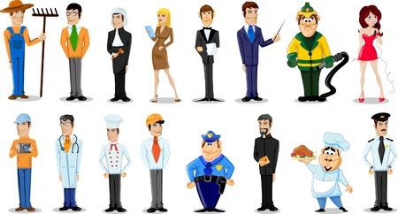 seres humanos: Personajes de dibujos animados de diferentes profesiones
