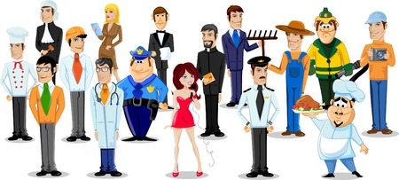 Cartoon characters of different professions  Vettoriali
