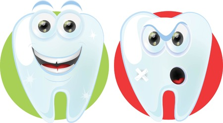 oral hygiene: Cartoon cute teeth with different emotions