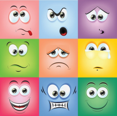 Cartoon faces with emotions  Illustration