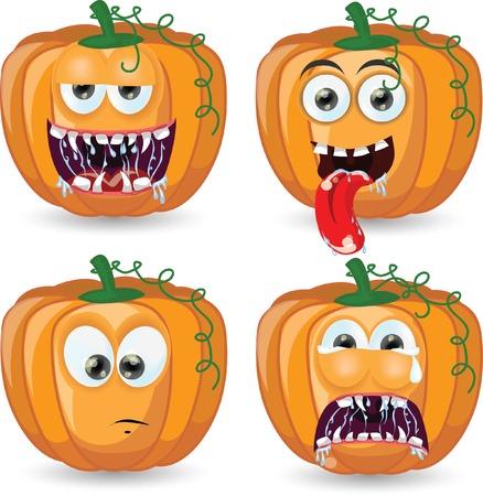 Cartoon pumpkins for halloween  Stock Vector - 25040976