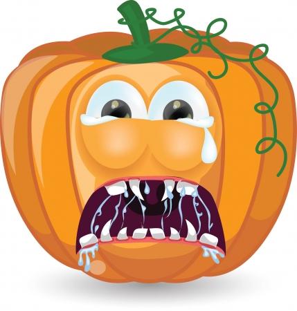 calabaza caricatura: Calabaza de dibujos animados para Halloween Vectores