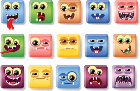 cartoon monster: Cartoon faces with emotions
