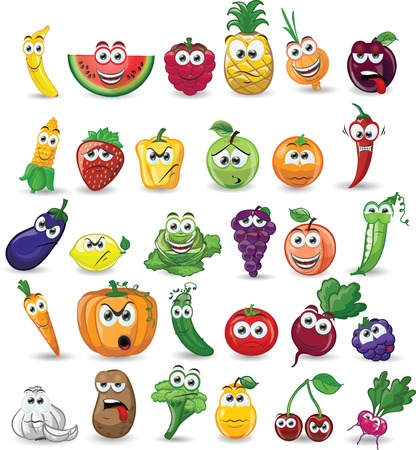cartoon food: Cartoon vegetables and fruits