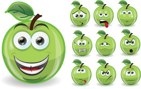 Set of cartoon cute apples  Vector