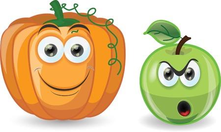 Cartoon apple and pumpkin  Vector