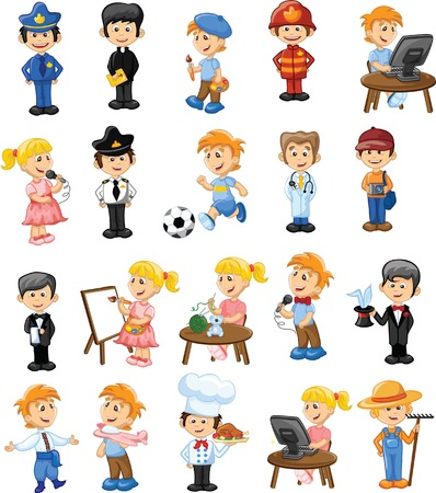 professions: Personajes de dibujos animados de diferentes profesiones