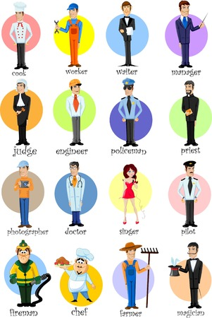 diferentes profesiones: Personajes de dibujos animados de diferentes profesiones