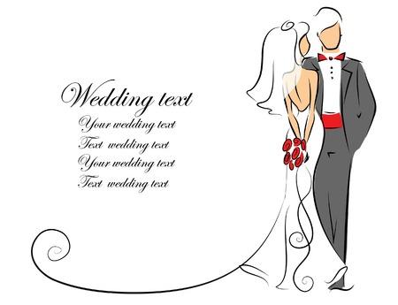 Silueta de la novia y el novio, de fondo Foto de archivo - 25243153