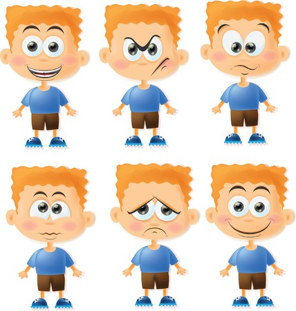 sad face: Set of cartoon funny boys with emotions