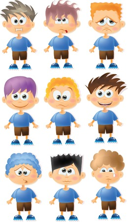 screaming face: Cute cartoon boys with different emotions  Illustration