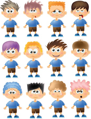 Cute cartoon boys with different emotions  Vector