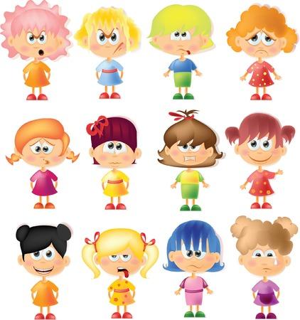 caras de emociones: Muchachas lindas de la historieta con diferentes emociones