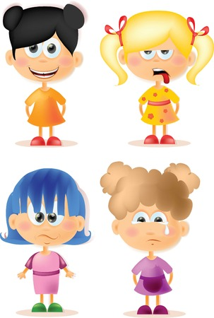 Cute cartoon girls with different emotions   Vector