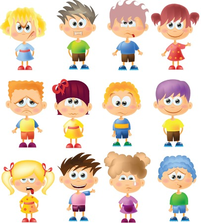 Cute cartoon kids with different emotions  Vector
