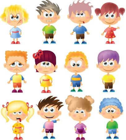 Bambini carino cartone animato con diverse emozioni