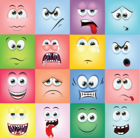 laugh emoticon: Cartoon faces with emotions  Illustration