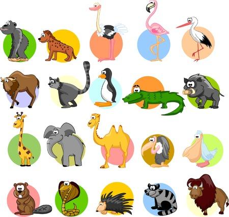 wolverine: Set of cute cartoon animals