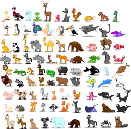 90 귀여운 만화 동물의 슈퍼 세트