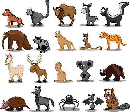Set of 20 cute cartoon animals  Vector