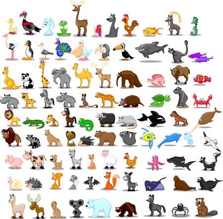 91 かわいい漫画の動物のスーパー セット  イラスト・ベクター素材