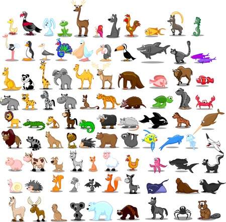 Super set van 91 leuke dieren Stock Illustratie