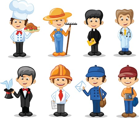 jobs cartoon: Cartoon characters of different professions  Illustration