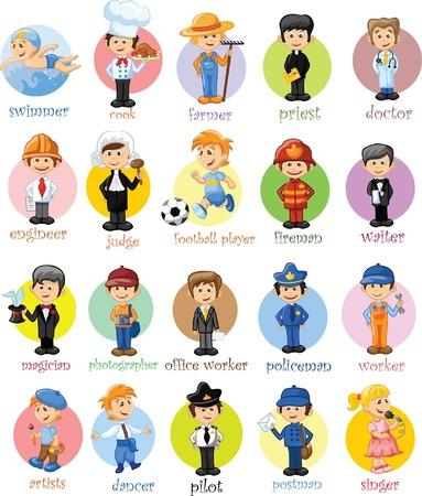 Cartoon Zeichen von verschiedenen Berufen