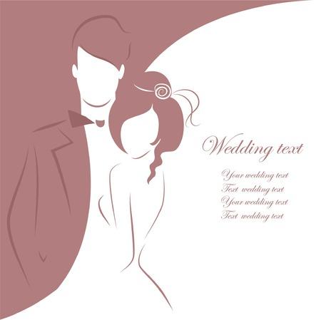 花嫁および新郎、背景のシルエット