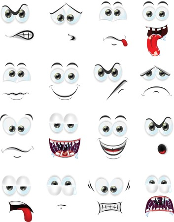 cry icon: Cartoon faces with emotions  Illustration