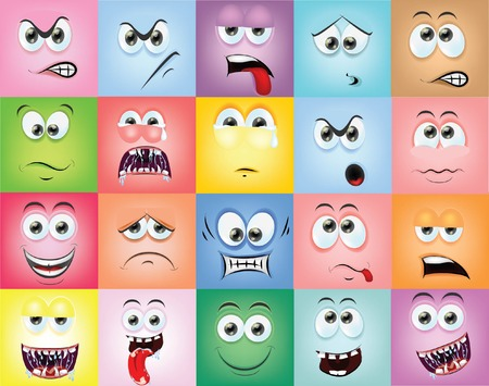 Cartoon faces with emotions  矢量图像
