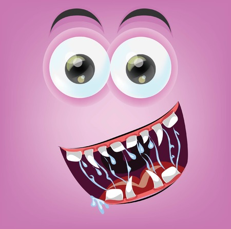 Cartoon happy monster face  Vector