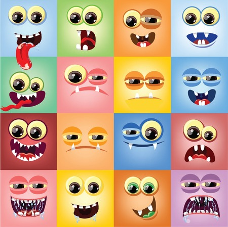 Cartoon faces with emotions  Stock Vector - 26513231