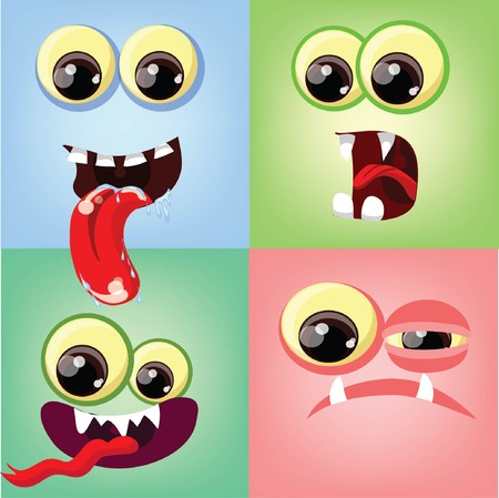 Cartoon faces with emotions  Vector