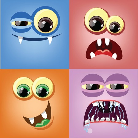 monster face: Cartoon faces with emotions  Illustration