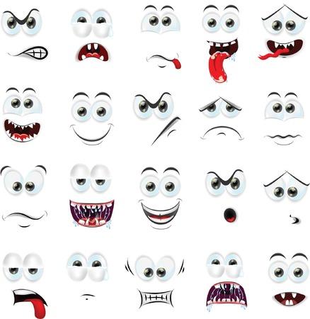 Caras de la historieta con las emociones