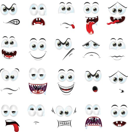 cartoon face: Cartoon faces with emotions  Illustration