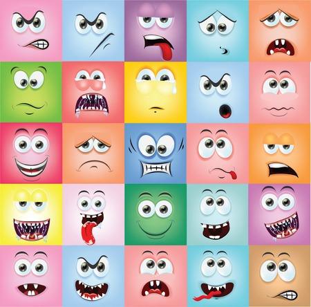 diente caricatura: Caras de la historieta con las emociones