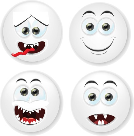 Cartoon faces with emotions Stock Vector - 26513306